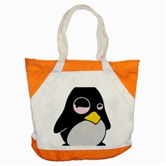 Lazy Linux Tux Penguin Accent Tote Bag by youshidesign