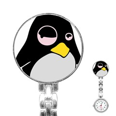 Lazy Linux Tux Penguin Stainless Steel Nurses Watch by youshidesign
