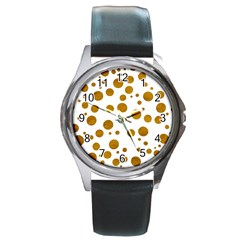 Tan Polka Dots Round Leather Watch (silver Rim)