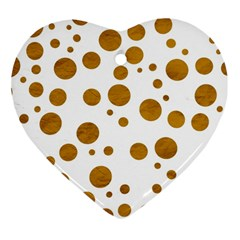 Tan Polka Dots Heart Ornament (two Sides) by Colorfulart23