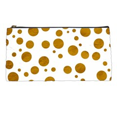 Tan Polka Dots Pencil Case by Colorfulart23