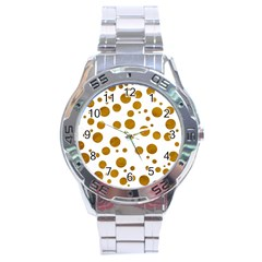 Tan Polka Dots Stainless Steel Watch