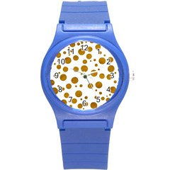 Tan Polka Dots Plastic Sport Watch (small)