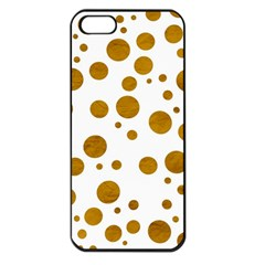 Tan Polka Dots Apple Iphone 5 Seamless Case (black) by Colorfulart23