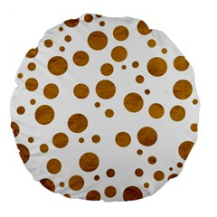 Tan Polka Dots 18  Premium Round Cushion  by Colorfulart23