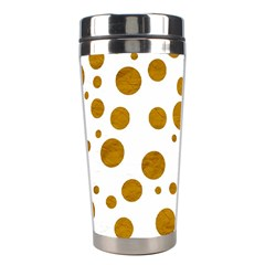 Tan Polka Dots Stainless Steel Travel Tumbler by Colorfulart23