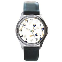 21st Birthday Keys Background Round Leather Watch (silver Rim) by Colorfulart23