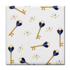 21st Birthday Keys Background Ceramic Tile by Colorfulart23