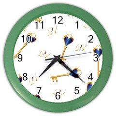 21st Birthday Keys Background Wall Clock (color) by Colorfulart23