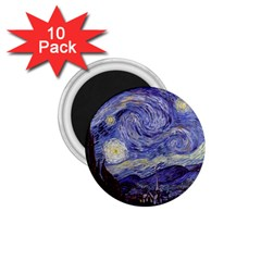 Vincent Van Gogh Starry Night 1 75  Button Magnet (10 Pack) by MasterpiecesOfArt