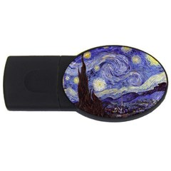 Vincent Van Gogh Starry Night 4gb Usb Flash Drive (oval) by MasterpiecesOfArt