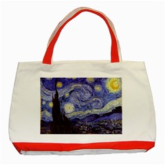 Vincent Van Gogh Starry Night Classic Tote Bag (red) by MasterpiecesOfArt