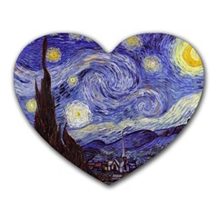 Vincent Van Gogh Starry Night Mouse Pad (heart) by MasterpiecesOfArt