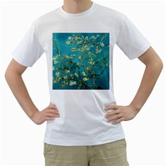 Vincent Van Gogh Blossoming Almond Tree Mens  T Shirt (white) by MasterpiecesOfArt
