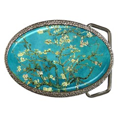 Vincent Van Gogh Blossoming Almond Tree Belt Buckle (oval) by MasterpiecesOfArt