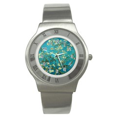 Vincent Van Gogh Blossoming Almond Tree Stainless Steel Watch (slim) by MasterpiecesOfArt