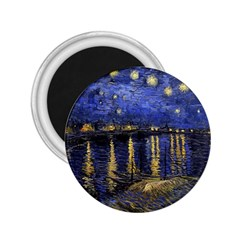 Vincent Van Gogh Starry Night Over The Rhone 2 25  Button Magnet by MasterpiecesOfArt