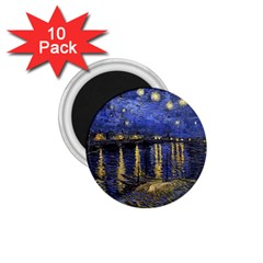 Vincent Van Gogh Starry Night Over The Rhone 1 75  Button Magnet (10 Pack) by MasterpiecesOfArt