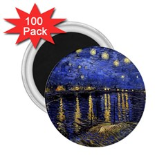Vincent Van Gogh Starry Night Over The Rhone 2 25  Button Magnet (100 Pack) by MasterpiecesOfArt