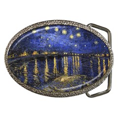 Vincent Van Gogh Starry Night Over The Rhone Belt Buckle (oval) by MasterpiecesOfArt