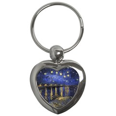 Vincent Van Gogh Starry Night Over The Rhone Key Chain (heart) by MasterpiecesOfArt