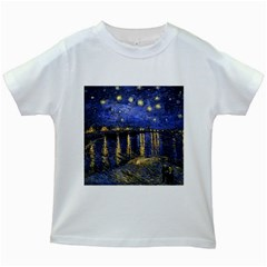 Vincent Van Gogh Starry Night Over The Rhone Kids' T Shirt (white)