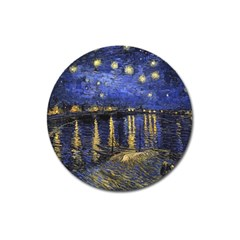 Vincent Van Gogh Starry Night Over The Rhone Magnet 3  (round) by MasterpiecesOfArt