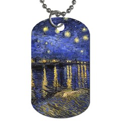 Vincent Van Gogh Starry Night Over The Rhone Dog Tag (One Sided)