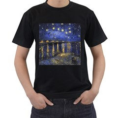 Vincent Van Gogh Starry Night Over The Rhone Mens' Two Sided T Shirt (black) by MasterpiecesOfArt