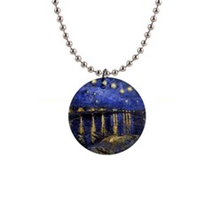 Vincent Van Gogh Starry Night Over The Rhone Button Necklace by MasterpiecesOfArt