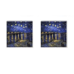 Vincent Van Gogh Starry Night Over The Rhone Cufflinks (square) by MasterpiecesOfArt