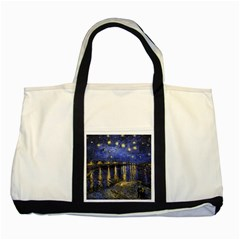 Vincent Van Gogh Starry Night Over The Rhone Two Toned Tote Bag by MasterpiecesOfArt