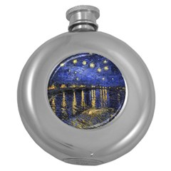 Vincent Van Gogh Starry Night Over The Rhone Hip Flask (round) by MasterpiecesOfArt