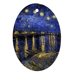 Vincent Van Gogh Starry Night Over The Rhone Oval Ornament (two Sides)