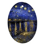 Vincent Van Gogh Starry Night Over The Rhone Oval Ornament (Two Sides) Back