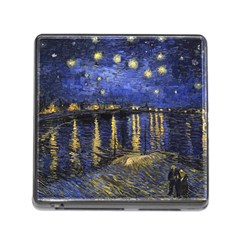 Vincent Van Gogh Starry Night Over The Rhone Memory Card Reader With Storage (square) by MasterpiecesOfArt