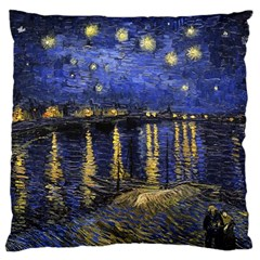 Vincent Van Gogh Starry Night Over The Rhone Large Cushion Case (two Sided)  by MasterpiecesOfArt