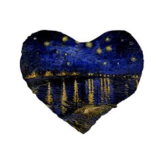 Vincent Van Gogh Starry Night Over The Rhone 16  Premium Heart Shape Cushion  by MasterpiecesOfArt