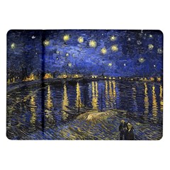Vincent Van Gogh Starry Night Over The Rhone Samsung Galaxy Tab 10 1  P7500 Flip Case by MasterpiecesOfArt