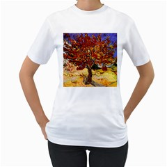 Vincent Van Gogh Mulberry Tree Womens  T Shirt (white) by MasterpiecesOfArt