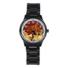 Vincent Van Gogh Mulberry Tree Sport Metal Watch (black) by MasterpiecesOfArt