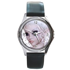 Fairy Elfin Elf Nymph Faerie Round Leather Watch (silver Rim) by goldenjackal