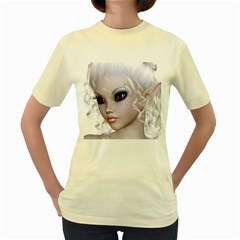 Fairy Elfin Elf Nymph Faerie  Womens  T Shirt (yellow)