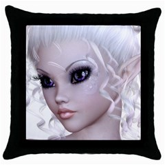 Fairy Elfin Elf Nymph Faerie Black Throw Pillow Case by goldenjackal