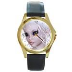 Fairy Elfin Elf Nymph Faerie Round Leather Watch (Gold Rim)