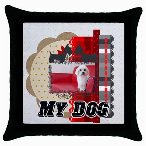 Pet By Pet    Throw Pillow Case (black)   Bab2cx06usij   Www Artscow Com Front