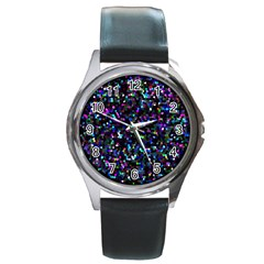 Glitter 1 Round Leather Watch (silver Rim) by MedusArt