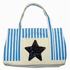 Glitter 1 Blue Striped Tote Bag by MedusArt