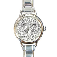 Drawing Floral Doodle 1 Round Italian Charm Watch by MedusArt