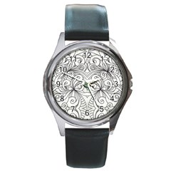 Drawing Floral Doodle 1 Round Leather Watch (silver Rim) by MedusArt